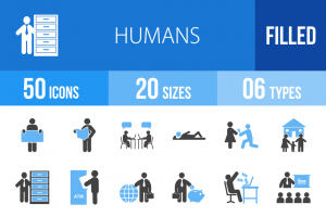 50 Humans Blue Black Icons - Overview - IconBunny