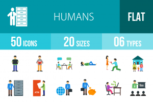 50 Humans Flat Multicolor Icons - Overview - IconBunny