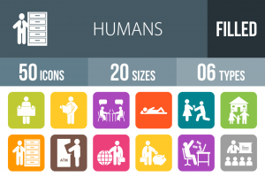 50 Humans Flat Round Corner Icons - Overview - IconBunny