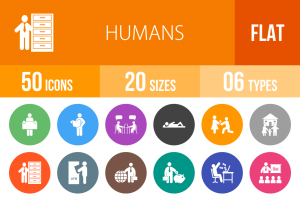 50 Humans Flat Round Icons - Overview - IconBunny