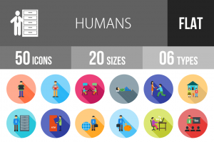 50 Humans Flat Shadowed Icons - Overview - IconBunny