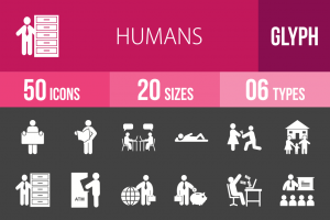 50 Humans Glyph Inverted Icons - Overview - IconBunny