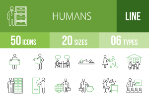 50 Humans Line Green Black Icons - Overview - IconBunny