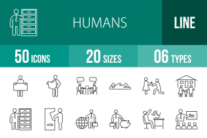50 Humans Line Icons - Overview - IconBunny