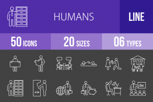 50 Humans Line Inverted Icons - Overview - IconBunny