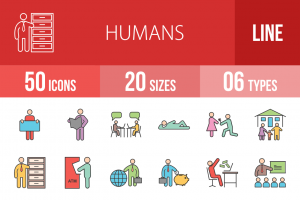 50 Humans Line Multicolor Filled Icons - Overview - IconBunny