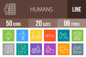 50 Humans Line Multicolor B/G Icons - Overview - IconBunny