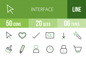 50 Interface Line Green & Black Icons - Overview - IconBunny