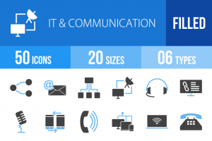 50 IT & Communication Blue & Black Icons - Overview - IconBunny