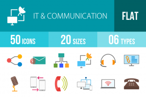 50 IT & Communication Flat Multicolor Icons - Overview - IconBunny