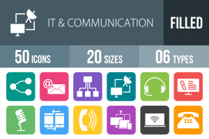50 IT & Communication Flat Round Corner Icons - Overview - IconBunny