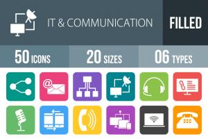 50 IT & Communication Flat Round Corner Icons - Overview - IconBunny