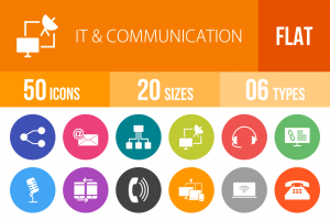 50 IT & Communication Flat Round Icons - Overview - IconBunny
