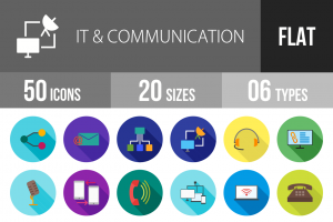 50 IT & Communication Flat Shadowed Icons - Overview - IconBunny