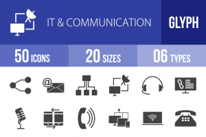 50 IT & Communication Glyph Icons - Overview - IconBunny