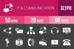 50 IT & Communication Glyph Inverted Icons - Overview - IconBunny