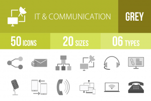50 IT & Communication Greyscale Icons - Overview - IconBunny