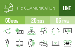 50 IT & Communication Line Green & Black Icons - Overview - IconBunny