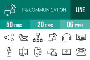 50 IT & Communication Line Icons - Overview - IconBunny