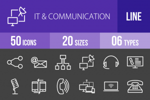 50 IT & Communication Line Inverted Icons - Overview - IconBunny