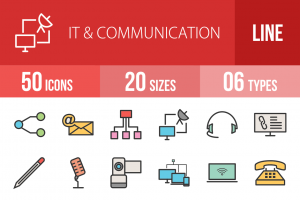 50 IT & Communication Line Multicolor Filled Icons - Overview - IconBunny