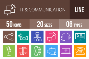 50 IT & Communication Line Multicolor B/G Icons - Overview - IconBunny
