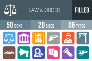 50 Law & Order Flat Round Corner Icons - Overview - IconBunny
