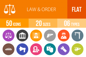 50 Law & Order Flat Round Icons - Overview - IconBunny