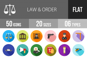 50 Law & Order Flat Shadowed Icons - Overview - IconBunny