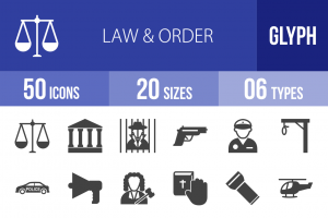 50 Law & Order Glyph Icons - Overview - IconBunny