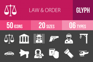 50 Law & Order Glyph Inverted Icons - Overview - IconBunny