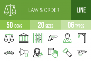 50 Law & Order Line Green & Black Icons - Overview - IconBunny