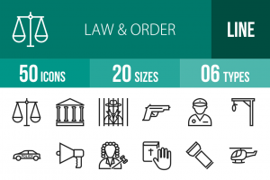 50 Law & Order Line Icons - Overview - IconBunny