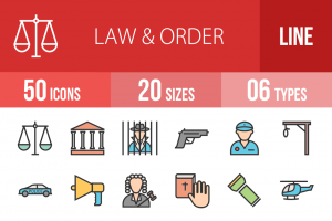 50 Law & Order Line Multicolor Filled Icons - Overview - IconBunny