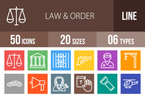 50 Law & Order Line Multicolor B/G Icons - Overview - IconBunny
