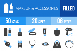 50 Makeup & Accessories Blue & Black Icons - Overview - IconBunny