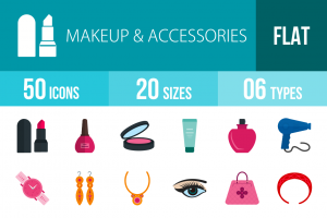 50 Makeup & Accessories Flat Multicolor Icons - Overview - IconBunny