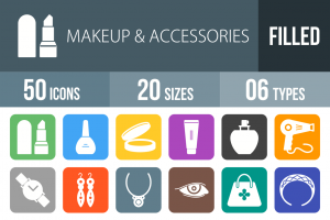 50 Makeup & Accessories Flat Round Corner Icons - Overview - IconBunny