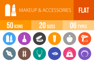50 Makeup & Accessories Flat Round Icons - Overview - IconBunny