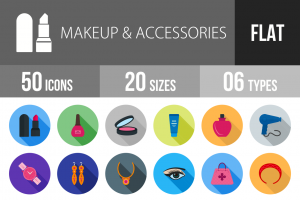 50 Makeup & Accessories Flat Shadowed Icons - Overview - IconBunny