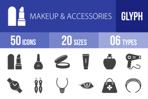 50 Makeup & Accessories Glyph Icons - Overview - IconBunny