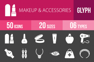 50 Makeup & Accessories Glyph Inverted Icons - Overview - IconBunny