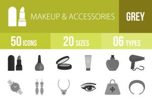 50 Makeup & Accessories Greyscale Icons - Overview - IconBunny