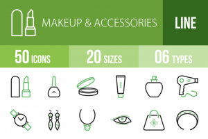 50 Makeup & Accessories Line Green & Black Icons - Overview - IconBunny