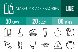 50 Makeup & Accessories Line Icons - Overview - IconBunny