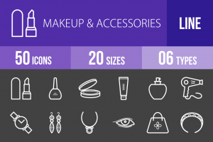50 Makeup & Accessories Line Inverted Icons - Overview - IconBunny