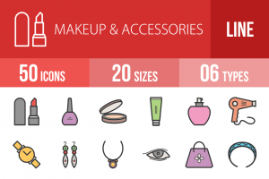 50 Makeup & Accessories Line Multicolor Filled Icons - Overview - IconBunny
