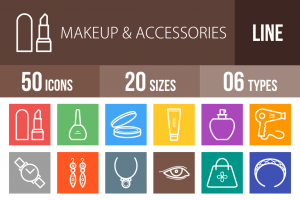 50 Makeup & Accessories Line Multicolor B/G Icons - Overview - IconBunny