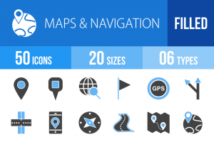 50 Maps & Navigation Blue Black Icons - Overview - IconBunny