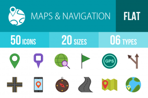 50 Maps & Navigation Flat Multicolor Icons - Overview - IconBunny